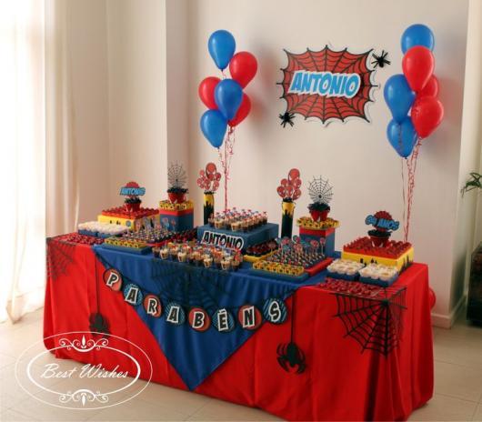 Decoração de Festa Simples Homem-Aranha toalha de mesa decorada com aplique de balões