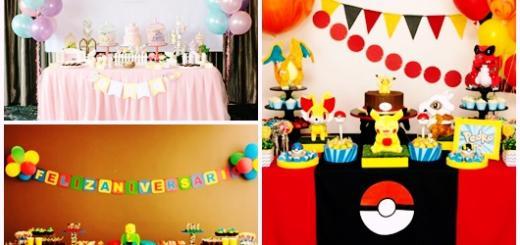 Decoração Simples de Aniversário modelos infantis jardim, pokémon e lego