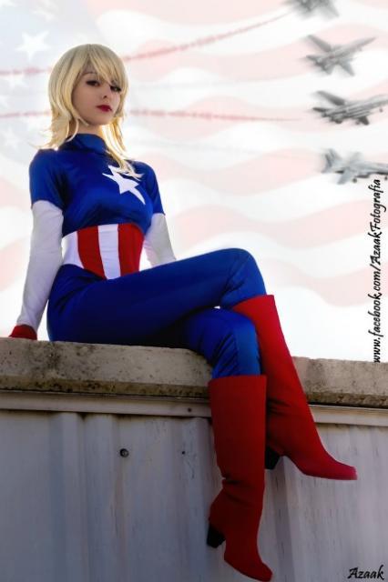 Fantasia Capitão América Feminina com bota feminina cano longo