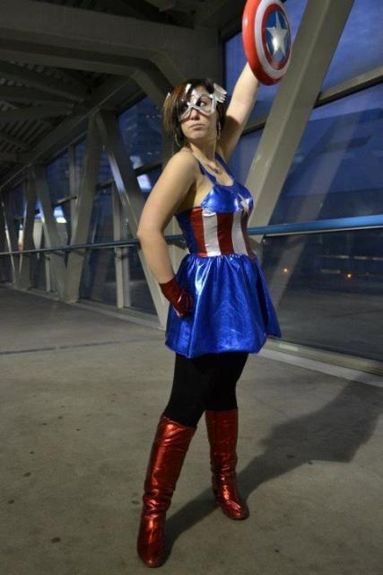 Fantasia Capitão América Feminina vestido curto