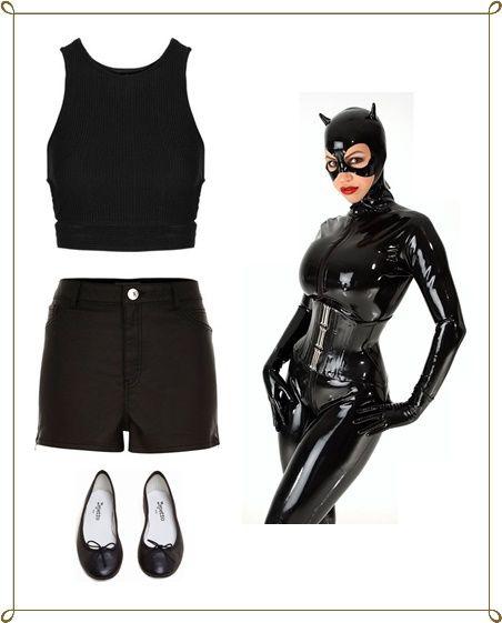Fantasia Mulher Gato Improvisada com saia e blusa preta