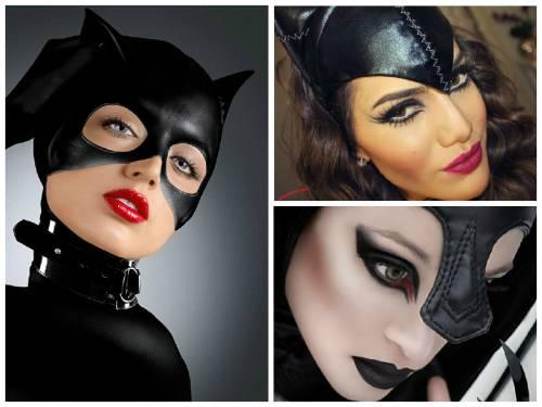 Fantasia Mulher Gato Maquiagem com batom preto e delineado nos olhos