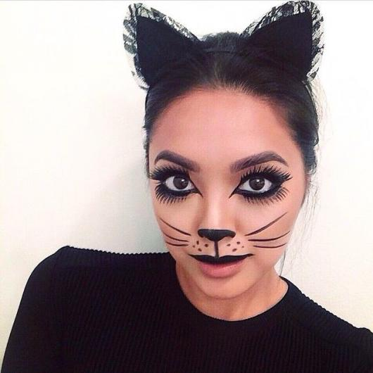 Fantasia Mulher Gato Maquiagem com bigode de gato