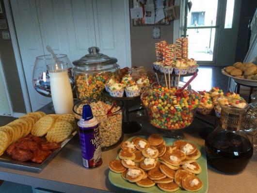 buffet para festa do pijama simples