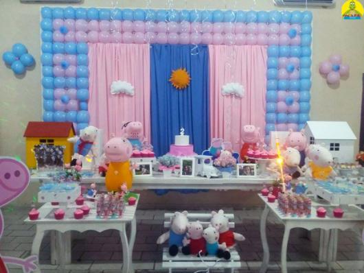 Decoração Festa Peppa Pig nas cores azul e rosa