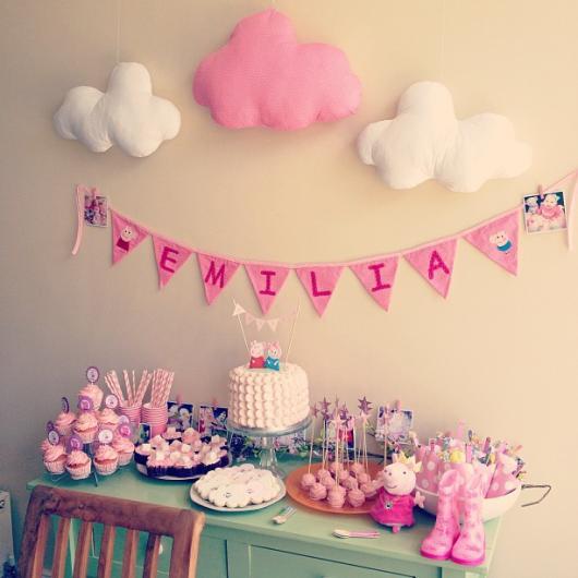 Decoração Festa Peppa Pig em tons rosa baby