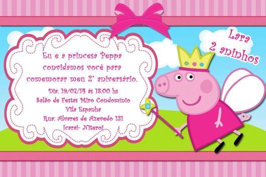 Convite da Festa Peppa Pig Fada Princesa