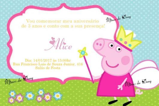 Convite da Festa Peppa Pig com a Peppa vestida de fada
