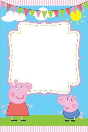 Convite da Festa Peppa Pig para editar e imprimir