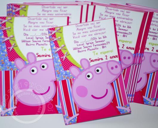 Convite da Festa Peppa Pig no estilo cartão