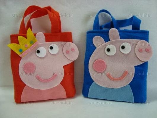 Lembrancinhas da Festa Peppa Pig sacolinha surpresa de feltro