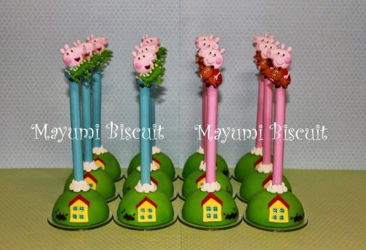 Lembrancinhas da Festa Peppa Pig ponteira de lápis com os personagens