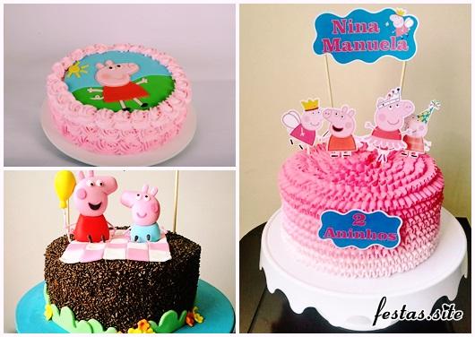 Festa Peppa Pig bolo simples decorado
