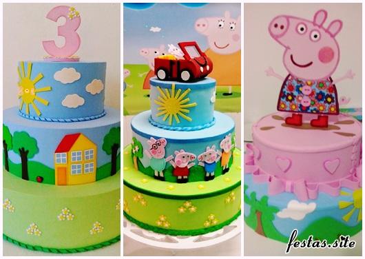 Festa Peppa Pig modelos de bolo fake de EVA