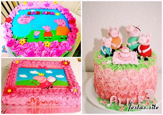 Festa Peppa Pig modelos de bolos com chantilly