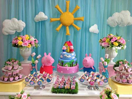 Decoração Festa Peppa Pig painel de tecido azul e sol de feltro