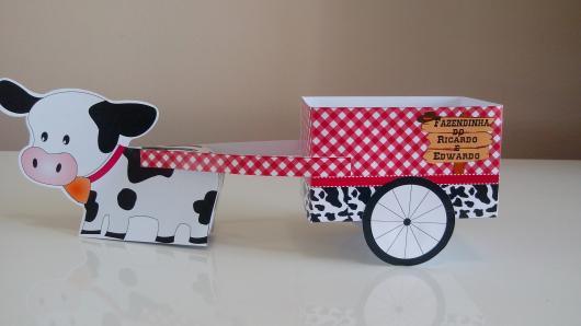 Lembrancinha com Caixa de Leite para aniversário com formato de carriola