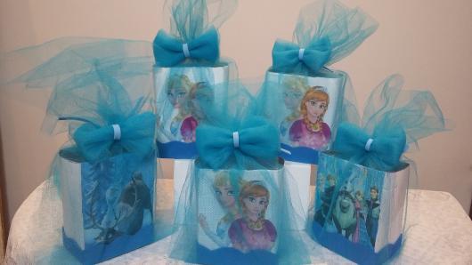 Lembrancinha com Caixa de Leite para aniversário com tema Frozen