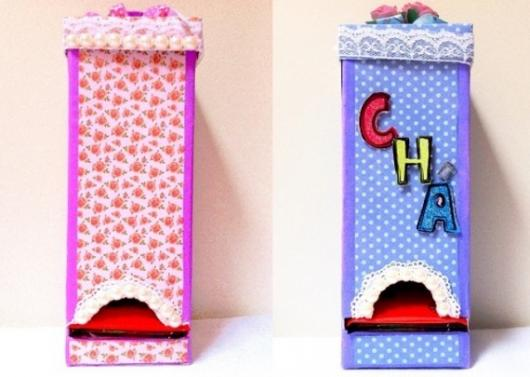 Lembrancinha com Caixa de Leite para Dia das Mães porta chá