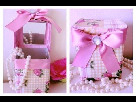 Lembrancinha com Caixa de Leite para Dia das Mães com tecido e fita de cetim