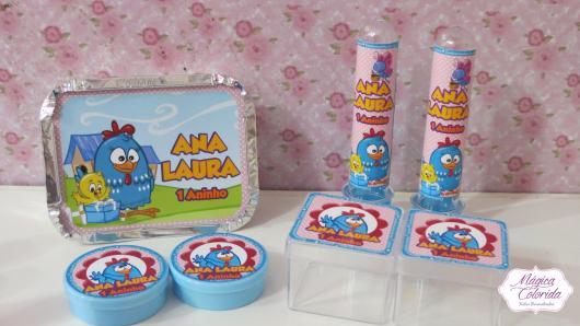 Lembrancinhas da Galinha Pintadinha com caixinha de acrílico e marmitinha de doces