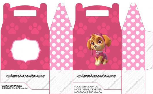 Molde de Lembrancinhas Patrulha Canina para Imprimir Caixinha Rosa