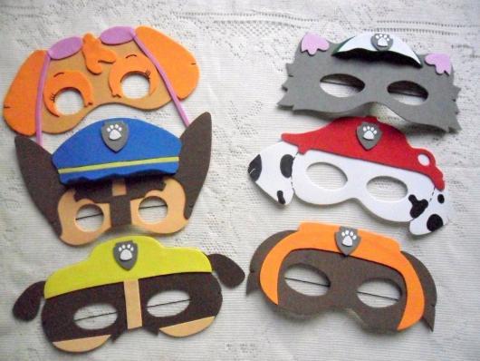 Lembrancinhas Patrulha Canina em EVA em formato de máscara