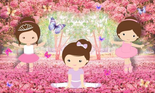 Painel de Festa Infantil Bailarina rosa