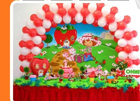 Painel de Festa Infantil Moranguinho de tecido
