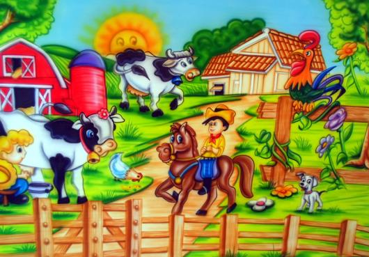 Painel de Festa Infantil Fazendinha com cavalo, vaca e celeiro