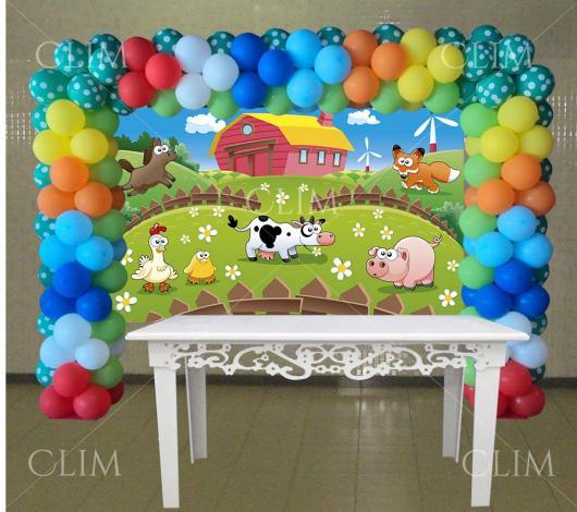 Painel de Festa Infantil Fazendinha com celeiro, porco, vaca, galinha e pintinho