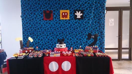Painel de Festa Infantil Mickey de tecido azul