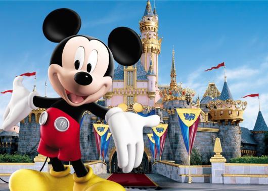 Painel de Festa Infantil Mickey de lona com castelo ao fundo