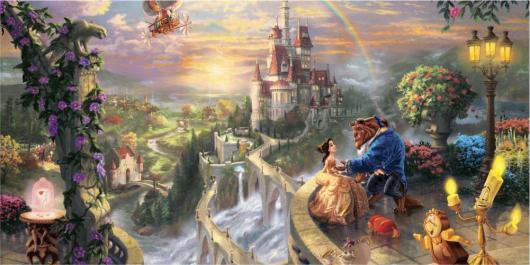 Painel de Festa Infantil 3D com castelo e personagens de A Bela e a Fera
