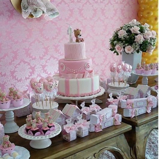 Painel de Festa Infantil de Tecido oxford rosa estampado