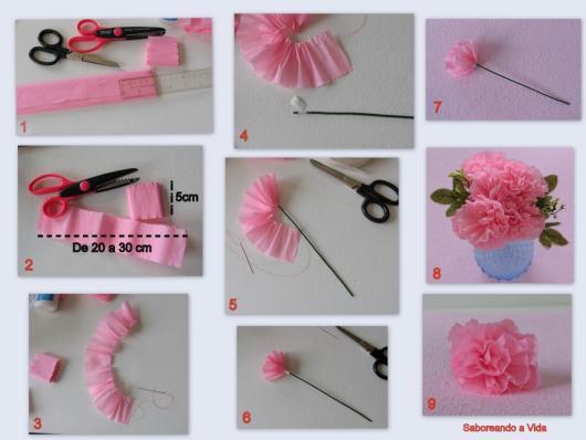 pompom de papel crepom rosa bebê