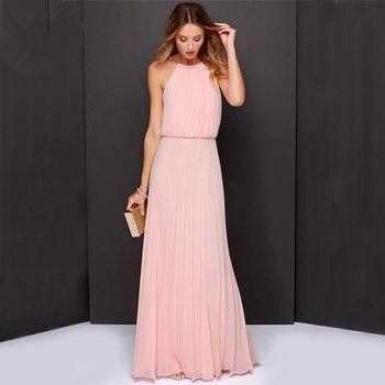 Vestido de Festa Longo Simples na cor rosa
