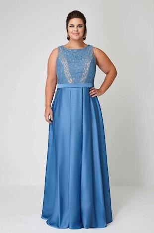 Vestido de Festa Longo Plus Size azul turqueza