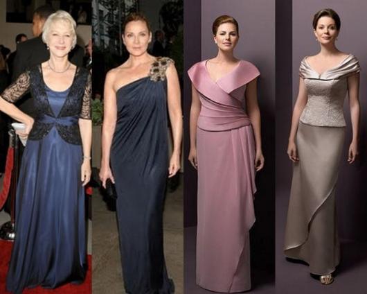 Vestido de Festa Longo para senhoras nas cores azul, rosa e marrom