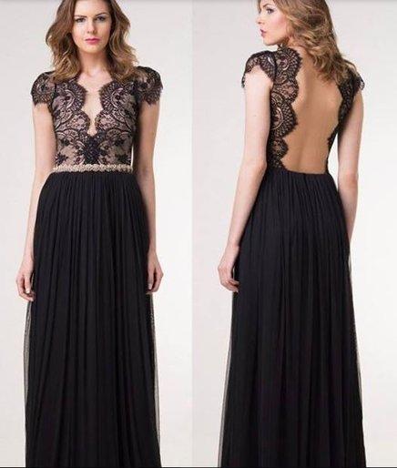 Vestido de Festa Longo preto com renda