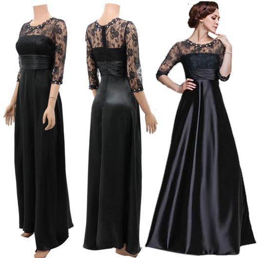 Vestido de Festa Longo preto com renda e tecido com brilho