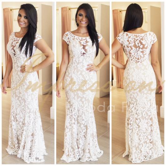 Vestido de Festa Longo branco com renda