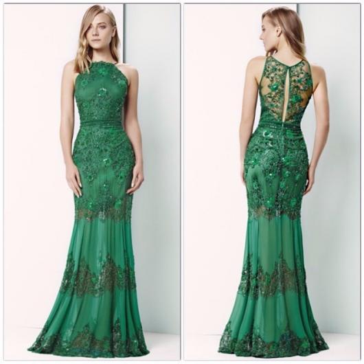 Vestido de Festa Longo verde com renda e bordado