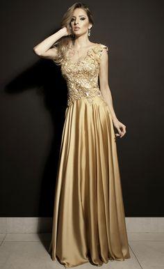 Vestido de Festa Longo dourado brilhante com bordado