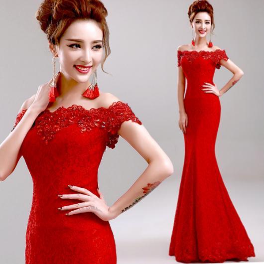 Vestido de Festa Longo Estilo Sereia vermelho com renda