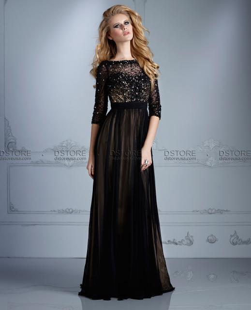 Vestido de Festa Longo de manga longa preto com pedraria