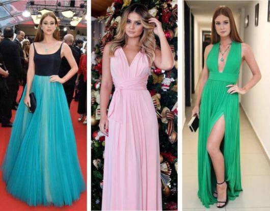 Vestido de Festa Longo para Casamento nas cores azul e preto, rosa e verde com fenda