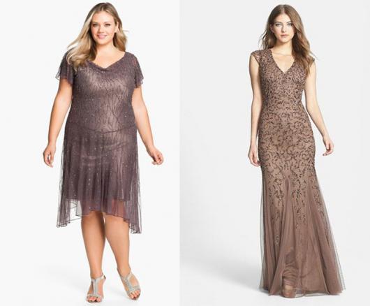Vestido de Festa Longo com pedraria marrom plus size