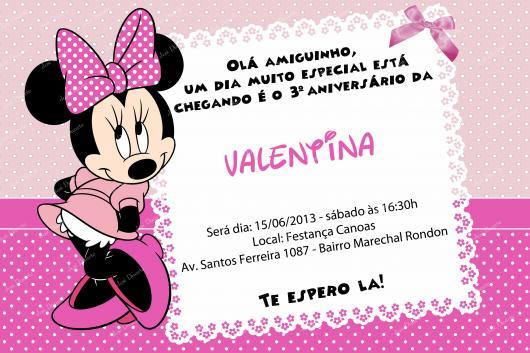 convites da Minnie Rosa