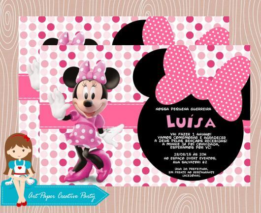 Convites Da Minnie 70 Inspirações Fofíssimas Modelos Para